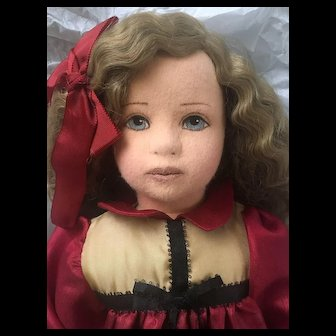 """Vintage Artist Made Doll - Felt Cloth Stuffed Doll - Unmarked Unknown Maker Oil Painted Face 24"""""""