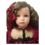 Vintage Artist Made Doll - Felt Cloth Stuffed Doll - Unmarked Unknown Maker Oil Painted Face 24""