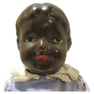 "Antique Composition 14"" Black Baby Girl Doll - Jointed - Circa: 1915's - 1920's"