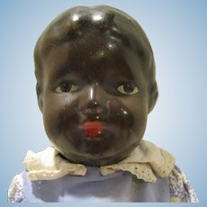 """Antique Composition 14"""" Black Baby Girl Doll - Jointed - Circa: 1915's - 1920's"""