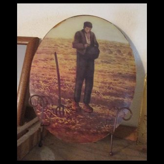Antique Reverse Glass Painting - Convex Oval Glass - Sad Farmer in Field
