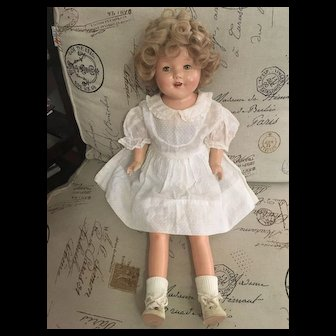 """Vintage Composition and Cloth Doll with Tin Eyes 27"""" tall Shirley Temple Circa: 1930's"""