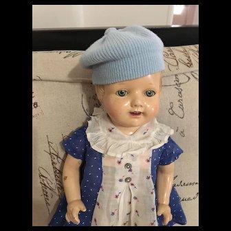 """Vintage 20"""" Composition Doll Swivel Head Tin Sleep Eyes Circa: 1920's - 1930's"""
