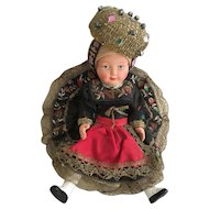 Vintage German Trachten Puppen Celluloid Doll Gold Work Lace and Embroidery