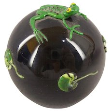 CORREIA Art Glass paperweight Frog & Lilly pads Fantastic & Whimsical