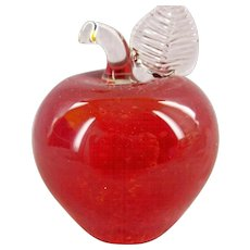 Red Apple Paperweight - Signed and dated 1987