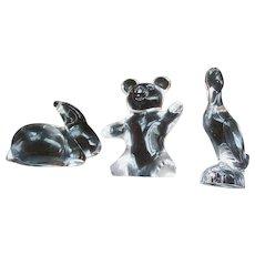 Lot of three DAUM France Clear Crystal full bodied animals Bear rabbit & bird