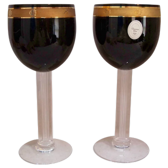 "Pair of Christian Dior ""Ebony Dior"" water glasses"