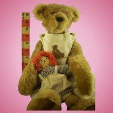 Mike & Gloria Franks Teddy Bear with Raggedy Ann doll - Collectors Club