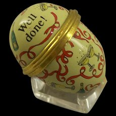 """Small Halcyon box in shape of a egg """"well Done"""""""