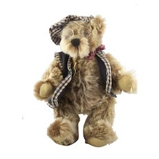 """Vintage Growler Teddy Bear by Hermann """"Grandpa"""" with tags - Mint"""