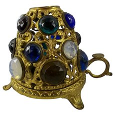 Victorian Brass Jeweled Fairy Lamp