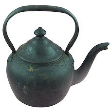 Small 16 oz Antique 19th Century Cast Iron goose neck teapot or kettle
