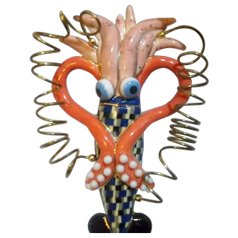 """Vintage CYNTHIA CHUANG - """"Jewelry 10"""" - Squid Broach / Signed Jewelry 10"""
