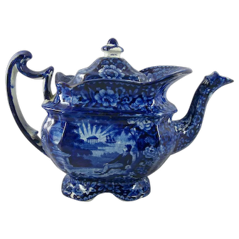 Antique Historical Blue Staffordshire Teapot - Lafayette at Franklin's Tomb - Circa 1825
