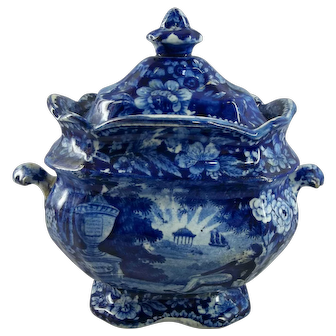 Antique Historical Blue Staffordshire Sugar Bowl - Lafayette at Franklin's Tomb - Circa 1825