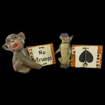 Two antique Figural  Bridge game trump markers or reminders Circa 1900-1920