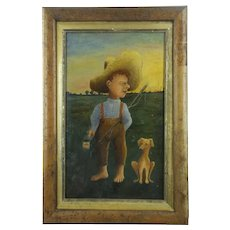 Antique Very Primitive Oil Painting of a Boy Going Fishing with his Dog