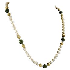 Vintage Cultured Akoya Grade AA Pearl Necklace with Jade, Appraisal