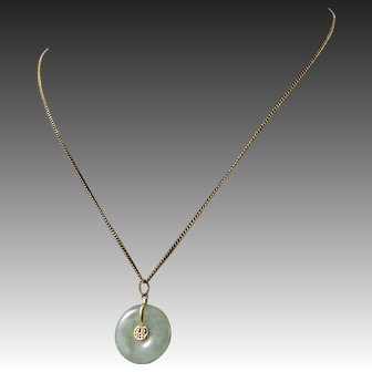 Vintage 10k Gold Necklace Chain with 14K Gold Jadeite Pendent