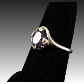 Vintage 10k White Gold Ring With Amethyst, Size 8.5