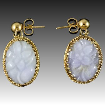 Vintage 14K Gold Earrings with Lavender Jadeite Carved Flowers, Grade A