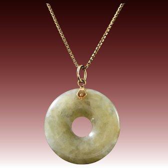 """Vintage 14k Gold Necklace with Jadeite """"PI"""" Disk Pendent"""