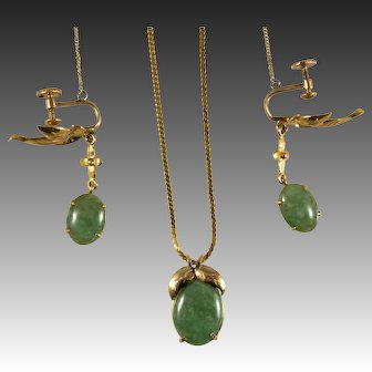 1930's T.Y. LEE 14k Gold Jadeite Necklace and Earring Set