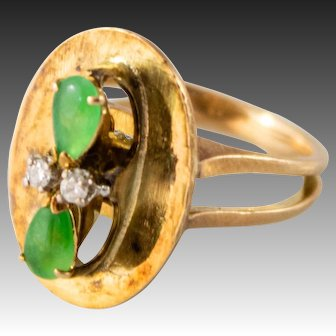 Vintage Imperial Jadeite & 14k Gold Ring with Diamonds