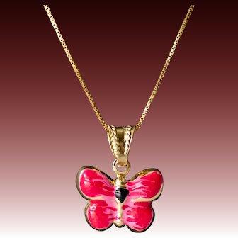 14k Gold & Enamel Butterfly Necklace, Modern