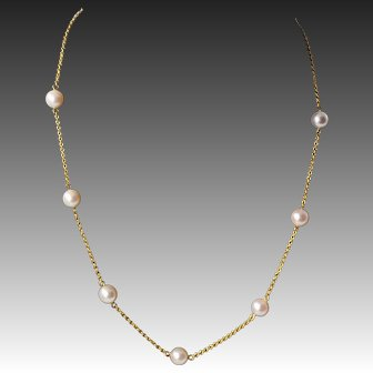 "18k Solid Yellow  Gold Pearl Station Necklace, 16"" Long"