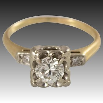 1930's 14k Gold 64 Pt Solitaire Diamond Engagement Ring with Side Diamonds, Appraisal
