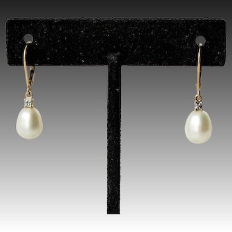14k Gold Cultured Freshwater Pearl Drop Earrings, with Diamond Accents