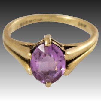 Mid Century 14k Gold Pink Sapphire Ring, Size 4.5