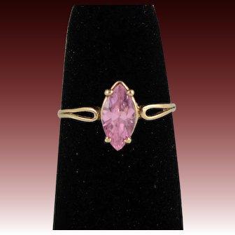 Vintage 10k Yellow Gold Pink Topaz Ring, Size 6.5