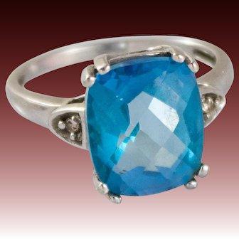 10K White Gold Ring With Blue Topaz Stone