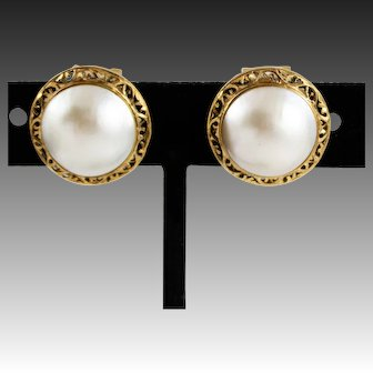 Vintage 14k Gold & Mabe Pearl Semi Omega Back Earrings, Not for Pierced Ears