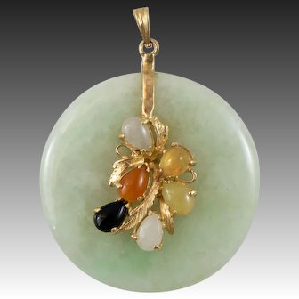 14k Gold Jadeite Pendent With Multi Color Jade Stones