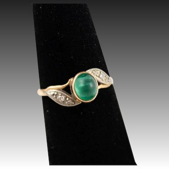 14k Gold Art Nouveau Russian Made  Ring With Emerald and Diamond Gemstones, Size
