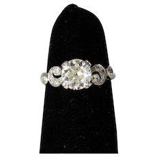 Antique Diamond Engagement Ring with a 1.30 Carat European Solitaire set in Platinum