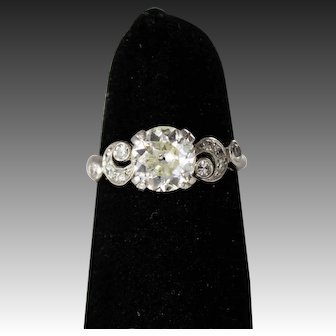 Antique Diamond Engagement Ring with a 1.30 Carat European Solitaire set in Platinum