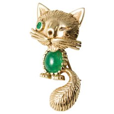 Vintage 1950's 14k Gold Cat With Jelly Belly Brooch, Winking Cat.