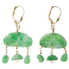 Qing Dynasty Jadeite Chandelier Earrings with Vintage 14k Gold Leverbacks.