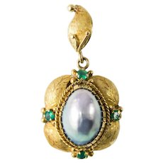 Antique 18k Gold Blue Mabe Pearl & Emerald Pendant