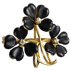 Victorian 15k Gold Black Enamel and Diamond Watch Pin or Pendant, Krementz