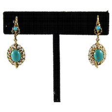 Mid Century 14k Solid Gold Faux Turquoise Dangle Earrings
