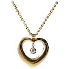 Vintage 14k Gold Diamond Heart Pendant & Necklace, Signed.