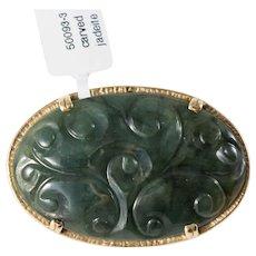 14k Gold Mings 1940's Jadeite Brooch