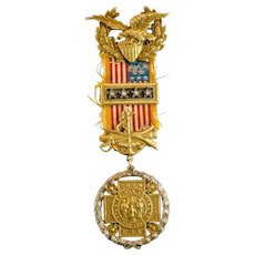 United Spanish American War Commander in Chief Badge with 18k & 14K Jewels, Named
