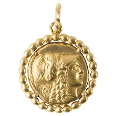 Ancient Alexander the Great Stater Solid Gold Coin in Bezel Pendant